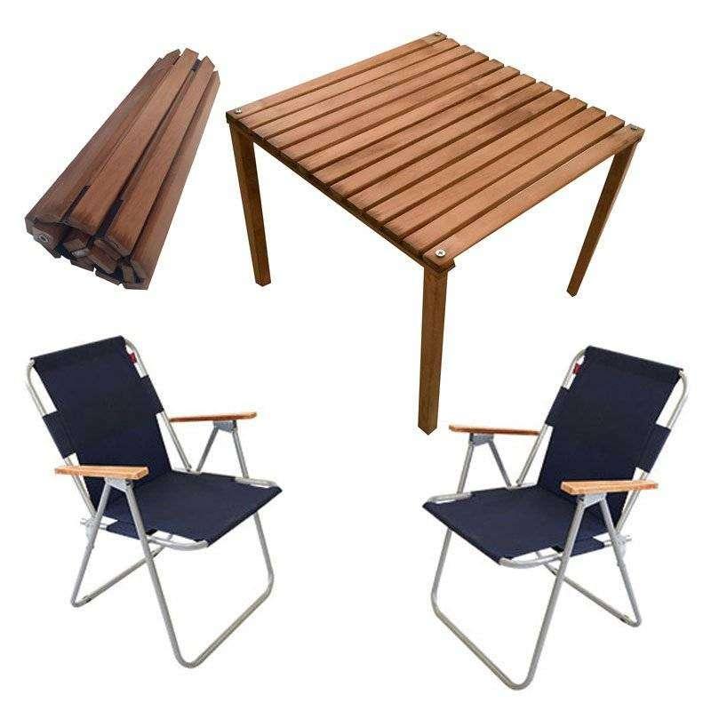 Rulo Katlanır Kamp Masa Sandalye Seti - 2 Sandalyeli