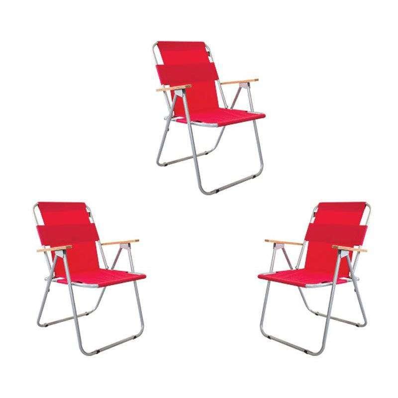 Ahşap Kollu Katlanır Kamp Sandalyesi - 3 Adet