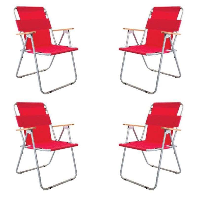 Ahşap Kollu Katlanır Kamp Sandalyesi - 4 Adet