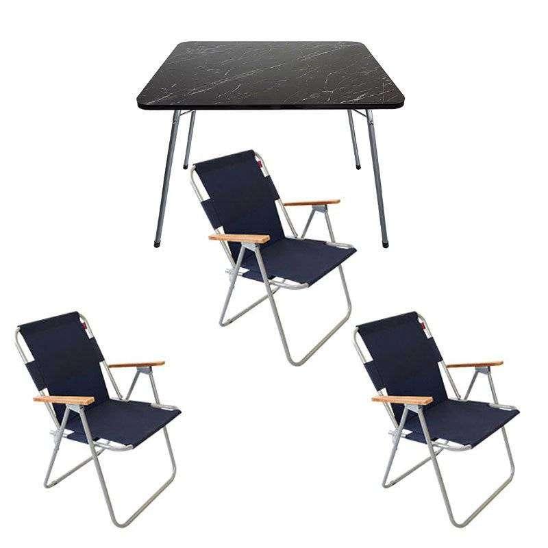 Katlanır Kamp Masa Sandalye Seti - 3 Sandalyeli