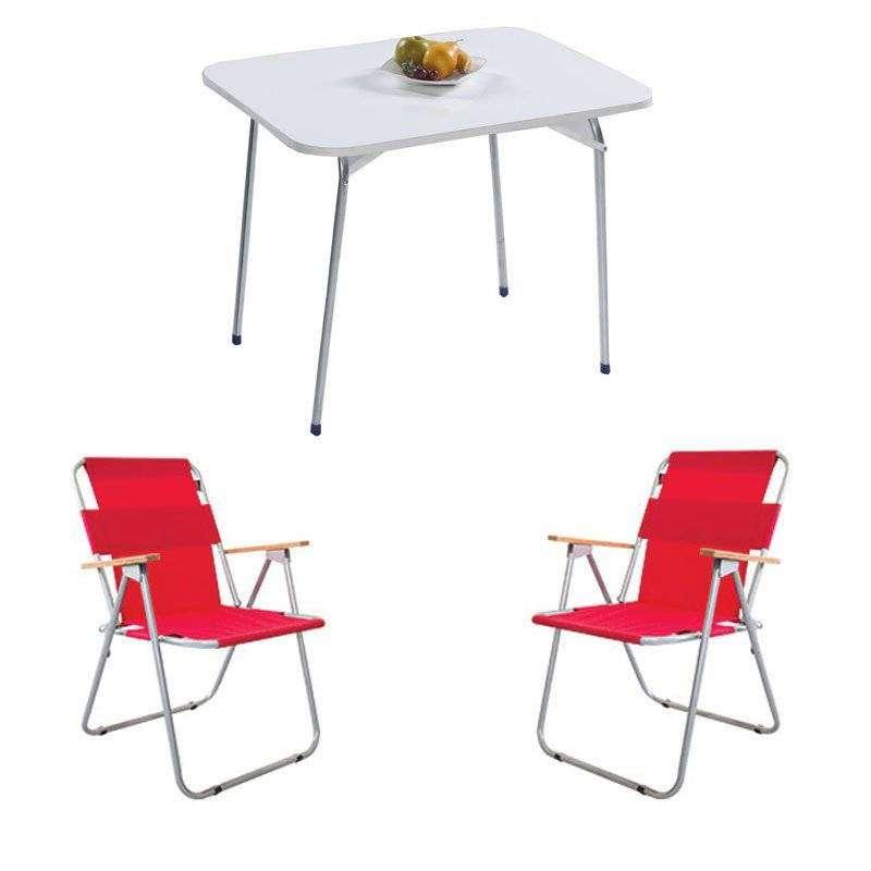 Katlanır Kamp Masa Sandalye Seti - 2 Sandalyeli