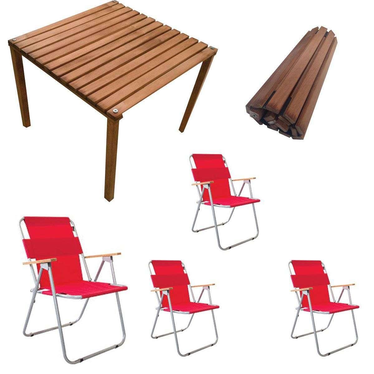 Rulo Katlanır Kamp Masa Sandalye Seti - 4 Sandalyeli