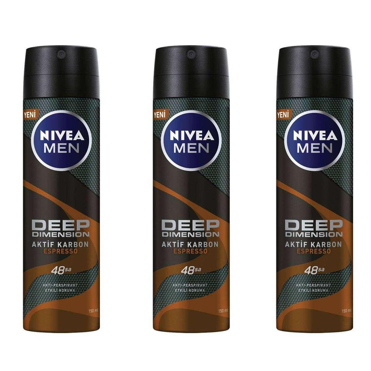 Nivea Men Deep Dimension Espresso Sprey - 150 ML - 3 Adet