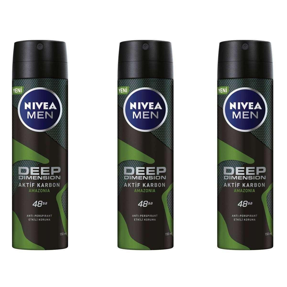 Nivea Men Deep Dimension Amazonia Sprey - 150 ML -3 Adet