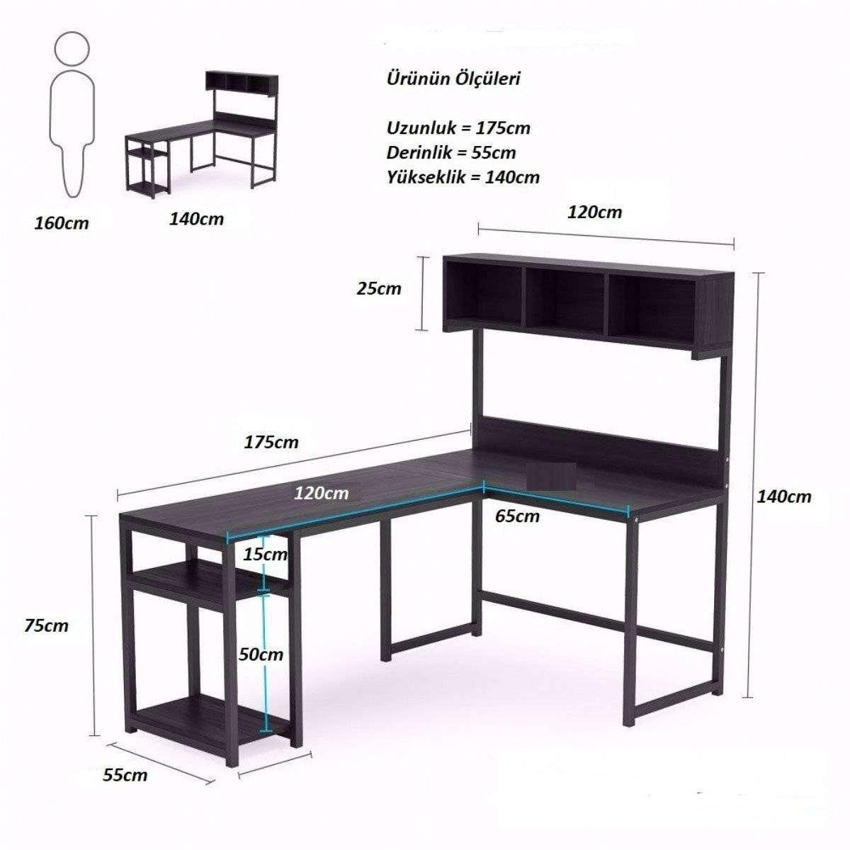 Ceviz L Şekilli Raflı Çalışma Masası